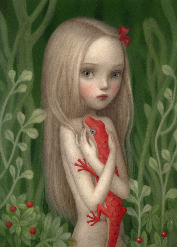 Nicoletta  Ceccoli -  <strong>Cuddle</strong> (2012<strong style = 'color:#635a27'></strong>)<bR /> acrylic on paper,   9.875 x 7.125 inches (25 x 18 cm)  16 x 13 x 1 inches, framed