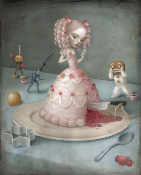 Nicoletta  Ceccoli -  <strong>Just Dessert</strong> (2010<strong style = 'color:#635a27'></strong>)<bR /> acrylic on paper  14.125 x 11 inches (36 x 28 cm)  17.5 x 14.375 inches, framed