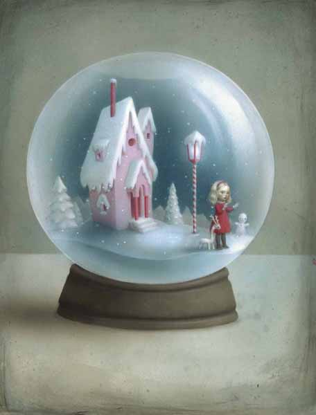 Nicoletta  Ceccoli -  <strong>Snow Globe</strong> (2010<strong style = 'color:#635a27'></strong>)<bR /> acrylic on paper  14.125 x 11 inches (36 x 28 cm)  17.5 x 14.375 inches, framed