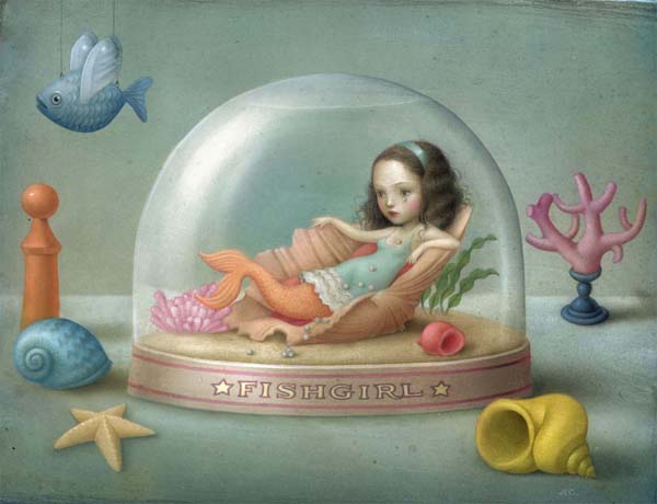 Nicoletta  Ceccoli -  <strong>Teardrop Pearls</strong> (2010<strong style = 'color:#635a27'></strong>)<bR /> acrylic on paper  14.125 x 11 inches (36 x 28 cm)  17.5 x 14.375 inches, framed