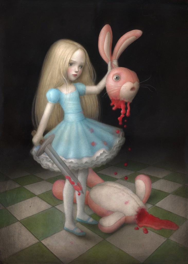 Nicoletta  Ceccoli -  <strong>True Blood</strong> (2012<strong style = 'color:#635a27'></strong>)<bR /> acrylic on paper,   16.25 x 12.5 inches (41.28 x 31.75 cm)  22.25 x 18.625 x 1 inches, framed