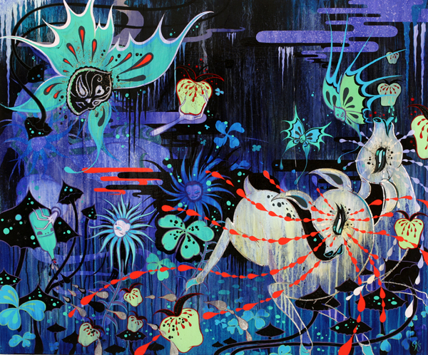 Camille Rose  Garcia -  <strong>Night of the Sleepwitch</strong> (2008<strong style = 'color:#635a27'></strong>)<bR /> Acrylic, Silver Leaf and Glitter on Panel,   33 x 40 inches