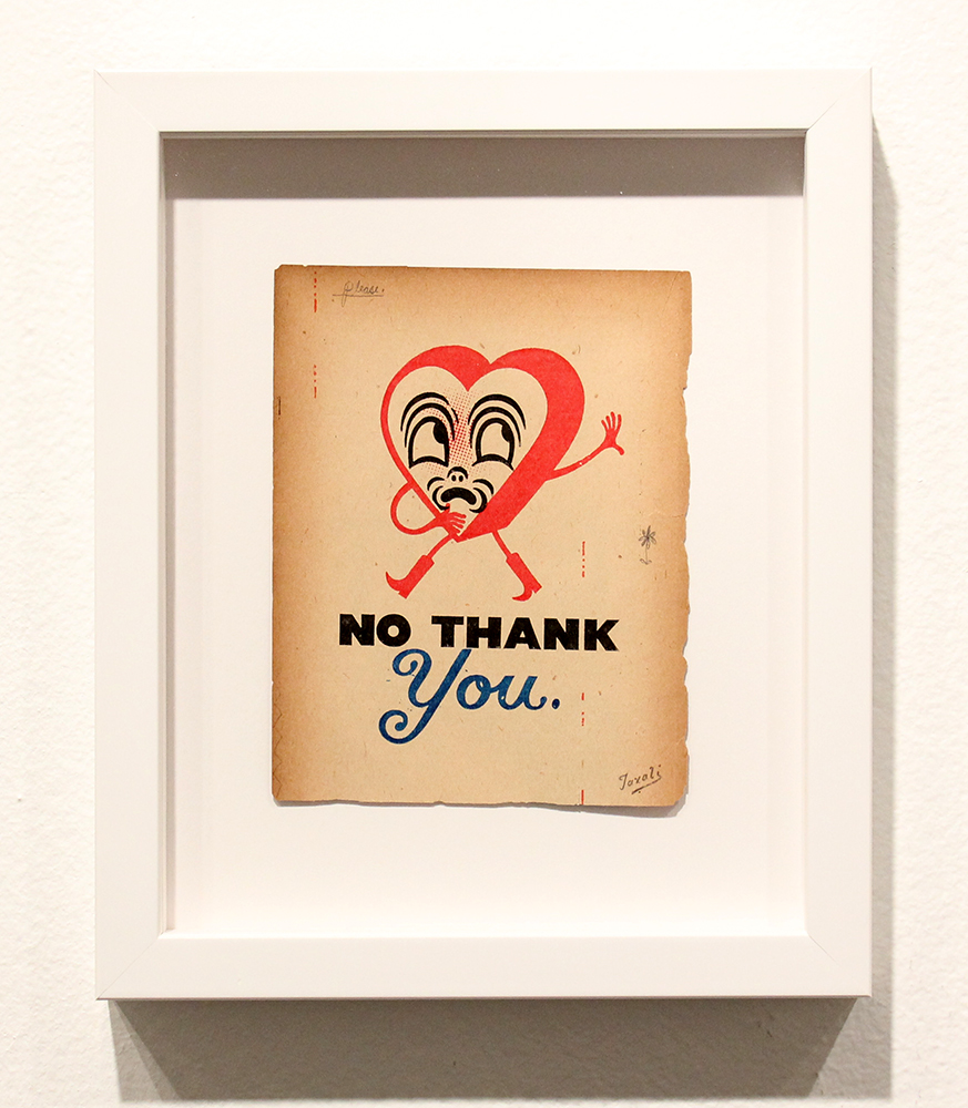 Gary Taxali -  <strong>No Thank You</strong> (2015<strong style = 'color:#635a27'></strong>)<bR />  mixed media on paper,   4.75 x 6.125 inches  (12.06 x 15.6 cm)