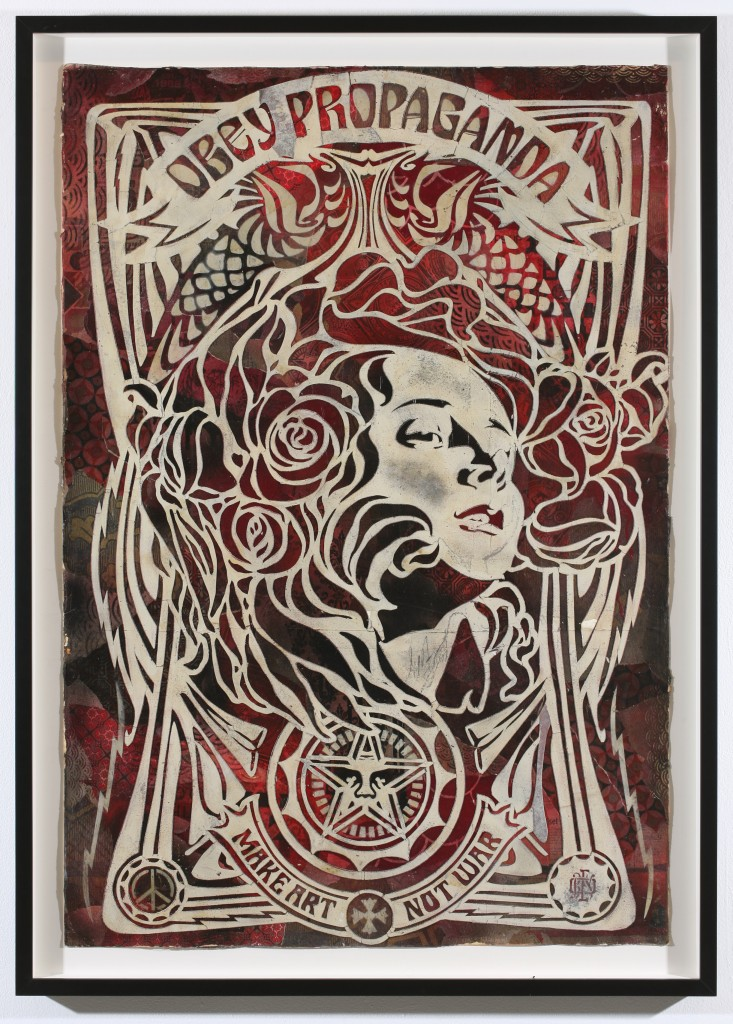 Shepard Fairey -  <strong>Nouveau Girl Stencil</strong> (2007<strong style = 'color:#635a27'></strong>)<bR /> retired stencil on collaged paper 30 x 44 inches
