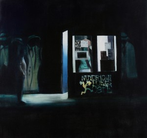 Brett Amory -  <strong>Nuyorican Poets Cafe (Waiting #238)</strong> (2015<strong style = 'color:#635a27'></strong>)<bR /> oil on canvas,   48 x 48 inches  (121.92 x 121.92 cm)