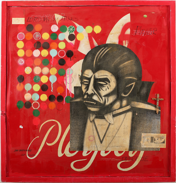 Date Farmers  &nbsp -  <strong>O, Lord My Mistakes</strong> (2010<strong style = 'color:#635a27'></strong>)<bR /> mixed media on metal,   36.25 x 35.25 x 4 inches  (92.08 x 89.54 x 10.16 cm)