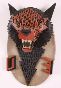 AJ  Fosik -  <strong>O E</strong> (2006<strong style = 'color:#635a27'></strong>)<bR /> Mixed Media,   39 x 19 1/2 x 6 inches