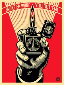 Shepard  Fairey -  <strong>Smoke 'em While You Got 'em</strong> (2015<strong style = 'color:#635a27'></strong>)<bR /> silkscreen and mixed media collage on wood,   18 x 24 inches  (45.7 x 61 cm),   HPM, edition 5 of 6