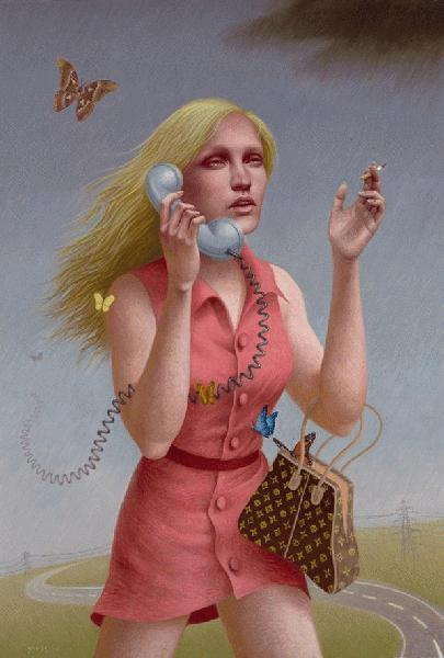 Alex  Gross -  <strong>Oblivion</strong> (2008<strong style = 'color:#635a27'></strong>)<bR /> Oil on Canvas,   Image Size: 53 x 36 inches,   Framed size: 54 x 37 inches