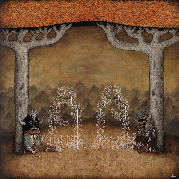 Andy  Kehoe -  <strong>Old Enemies Reconcile Unseen</strong> (2009<strong style = 'color:#635a27'></strong>)<bR /> acrylic and oil on panel,   image size: 30 x 30 inches,   framed size: 34 5/8 x 34 5/8 inches