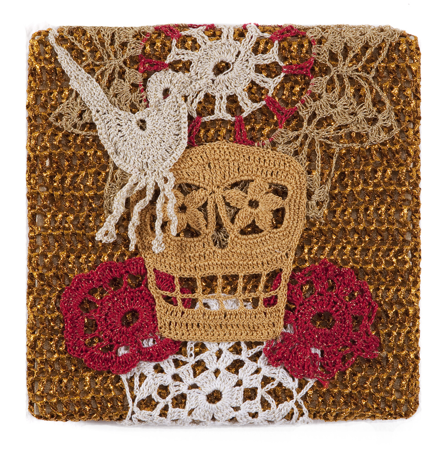 Olek  &nbsp -  <strong>Crocheted Skull with Bird No. 01</strong> (2013<strong style = 'color:#635a27'></strong>)<bR /> crocheted acrylic yarn and metallic ribbon on metallic fabric,   9.25 x 9.25 inches  (23.50 x 23.50 cm)