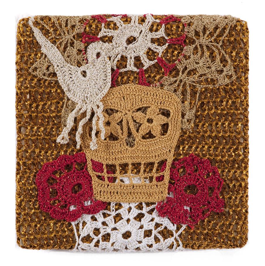 Olek  &nbsp -  <strong>Crocheted Skull with Bird No. 01</strong> (2013<strong style = 'color:#635a27'></strong>)<bR /> crocheted acrylic yarn and metallic ribbon on metallic fabric,   9.25 x 9.25 inches  (23.50 x 23.50 cm)