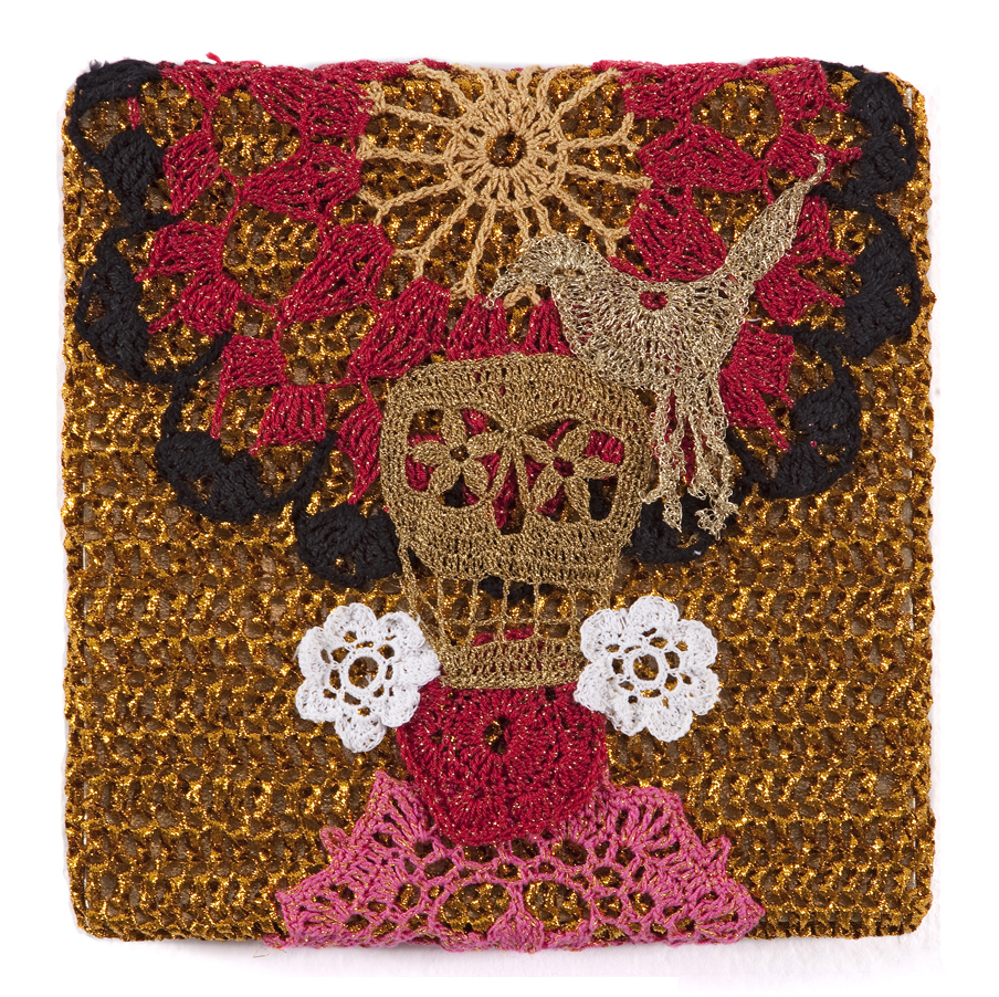 Olek  &nbsp -  <strong>Crocheted Skull with Bird No. 02</strong> (2013<strong style = 'color:#635a27'></strong>)<bR /> crocheted acrylic yarn and metallic ribbon on metallic fabric,   9.25 x 9.25 inches  (23.50 x 23.50 cm)