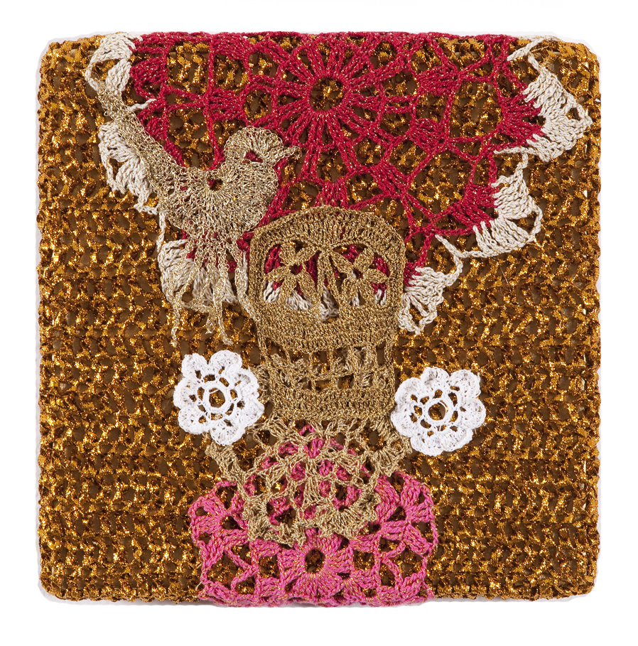 Olek  &nbsp -  <strong>Crocheted Skull with Bird No. 03</strong> (2013<strong style = 'color:#635a27'></strong>)<bR /> crocheted acrylic yarn and metallic ribbon on metallic fabric,   9.25 x 9.25 inches  (23.50 x 23.50 cm)