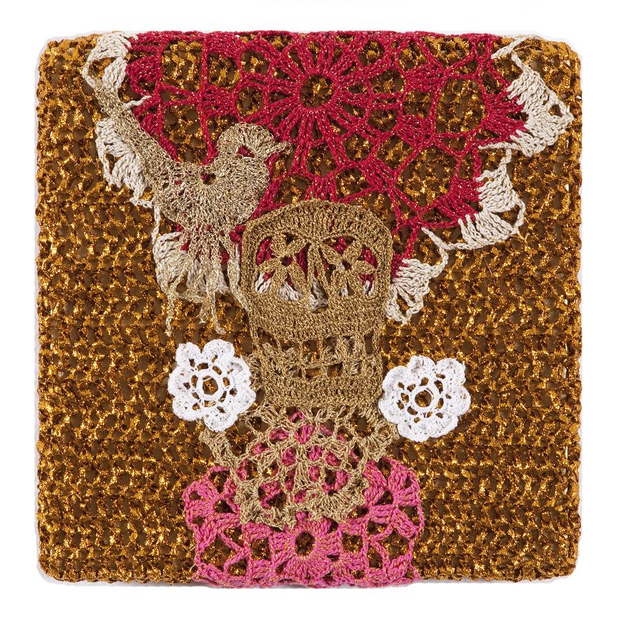 Olek  &nbsp -  <strong>Crocheted Skull with Bird No. 03</strong> (2013<strong style = 'color:#635a27'></strong>)<bR /> crocheted acrylic yarn and metallic ribbon on metallic fabric,   9.25 x 9.25 inches  (23.50 x 23.50 cm)