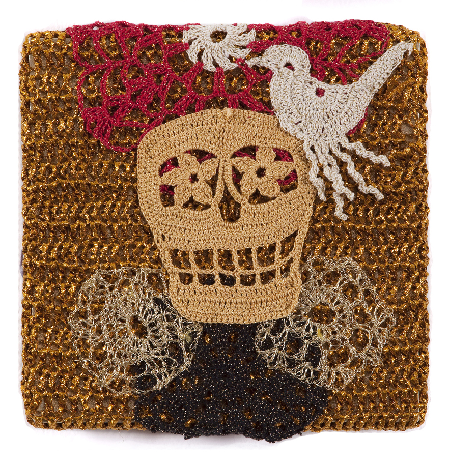 Olek  &nbsp -  <strong>Crocheted Skull with Bird No. 04</strong> (2013<strong style = 'color:#635a27'></strong>)<bR /> crocheted acrylic yarn and metallic ribbon on metallic fabric,   9.25 x 9.25 inches  (23.50 x 23.50 cm)