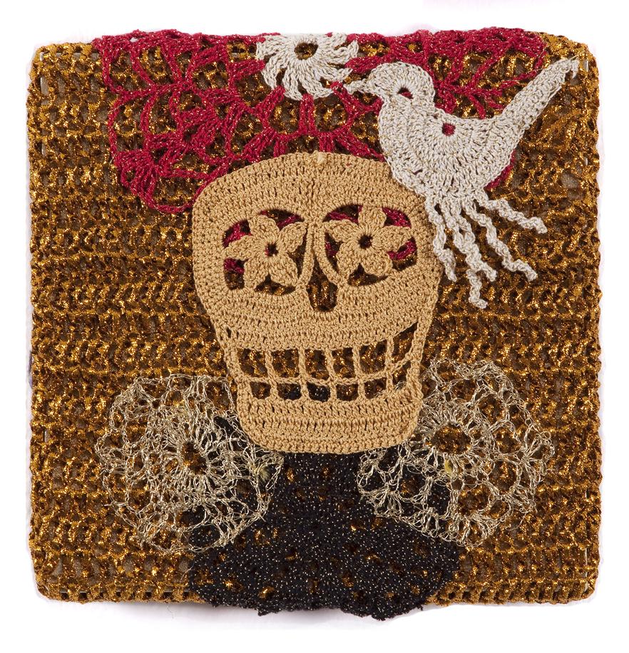 Olek  &nbsp -  <strong>Crocheted Skull with Bird No. 04</strong> (2013<strong style = 'color:#635a27'></strong>)<bR /> crocheted acrylic yarn and metallic ribbon on metallic fabric,   9.25 x 9.25 inches  (23.50 x 23.50 cm)