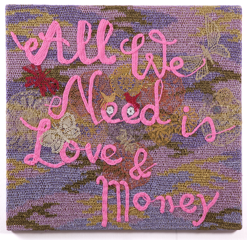 Olek  &nbsp -  <strong>All We Need is Love and Money</strong> (2013<strong style = 'color:#635a27'></strong>)<bR /> crocheted acrylic yarn and metallic ribbon on canvas,   42.25 x 44.25 x 1.5 inches  (107.3 x 107.3 x 3.81 cm)
