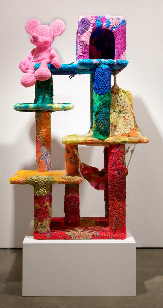 Olek  &nbsp -  <strong>The Aristocats</strong> (2014<strong style = 'color:#635a27'></strong>)<bR /> mixed media,   57 x 20 x 36 inches  (144.78 x 50.8 x 91.44 cm)