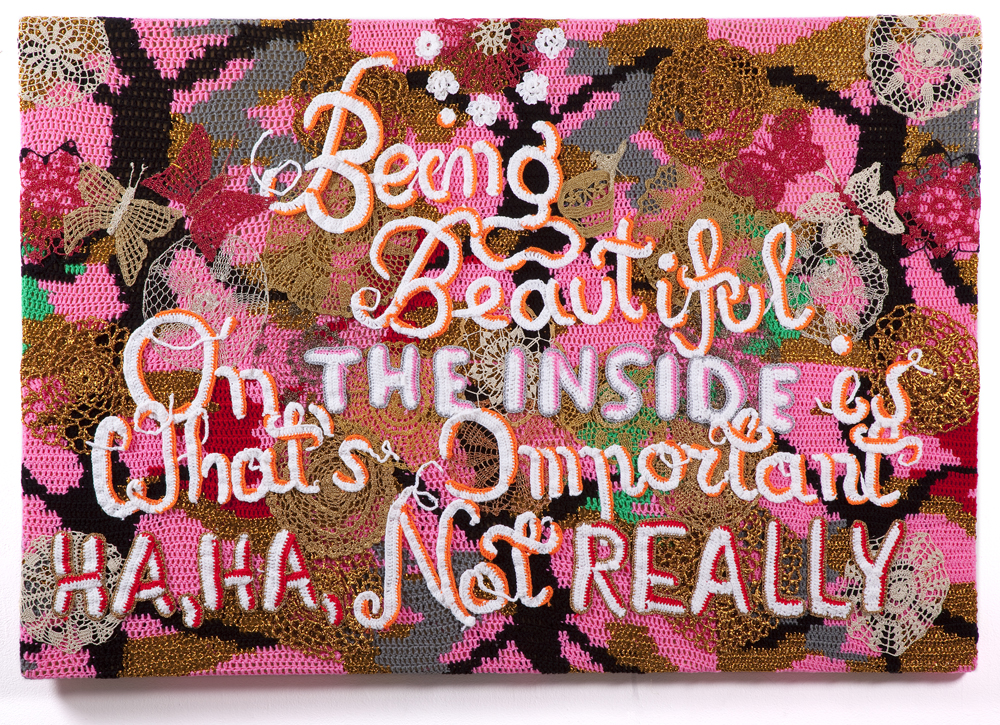 Olek  &nbsp -  <strong>Being Beautiful</strong> (2013<strong style = 'color:#635a27'></strong>)<bR /> crocheted acrylic yarn and metallic ribbon on canvas,   40.5 x 70.25 x 1.625 inches  (102.87 x 178.43 x 4.12 cm)