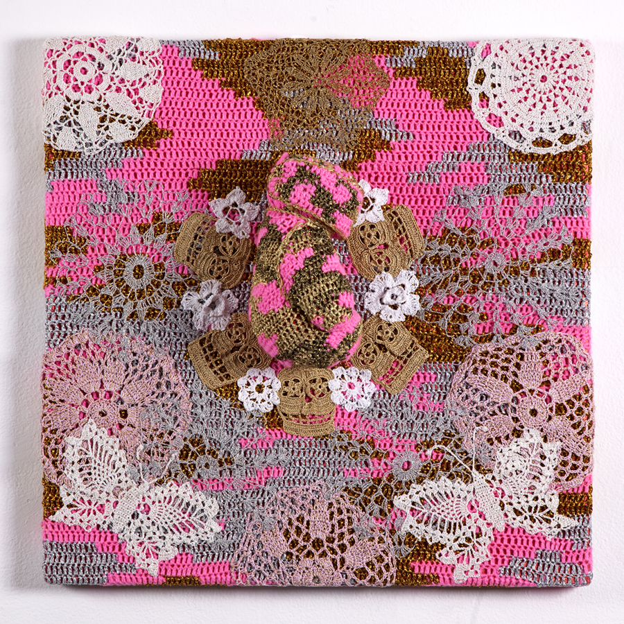 Olek  &nbsp -  <strong>Circus Parade</strong> (2013<strong style = 'color:#635a27'></strong>)<bR /> crocheted acrylic yarn, metallic ribbon and boxing glove on canvas,   26.25 x 26.25 x 6 inches  (66.68 x 66.68 x 15.24 cm)