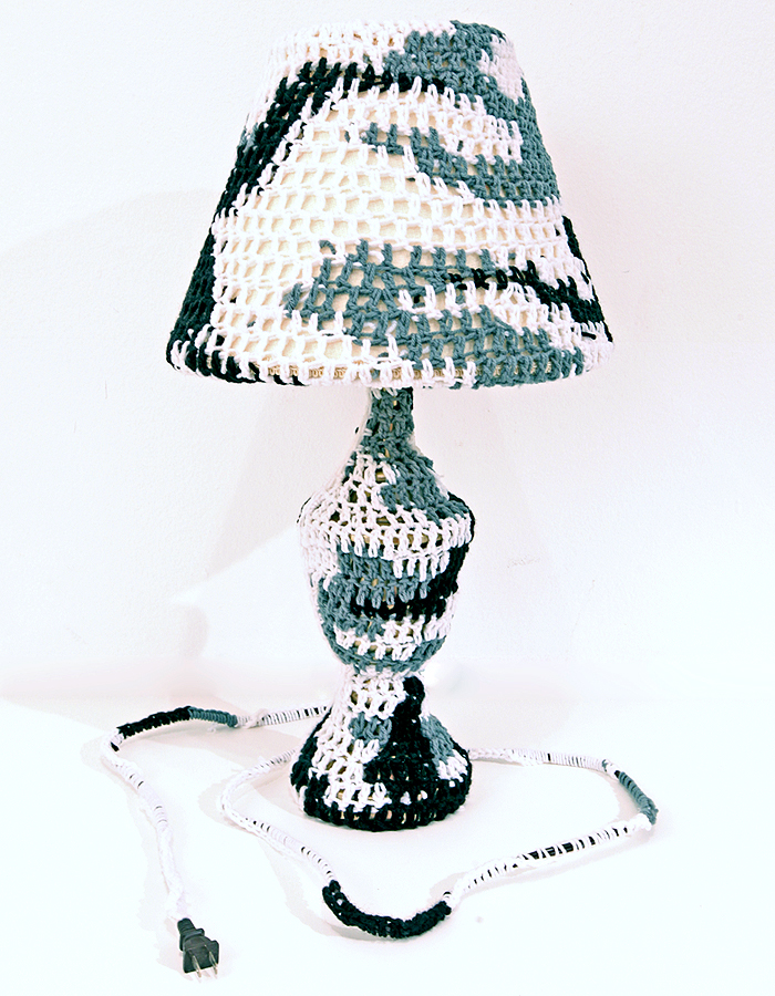 Olek  &nbsp -  <strong>Crocheted Lamp</strong> (2011<strong style = 'color:#635a27'></strong>)<bR /> mixed media,   26 x 14 x 14 inches  (66 x 35.5 x 35.5 cm)