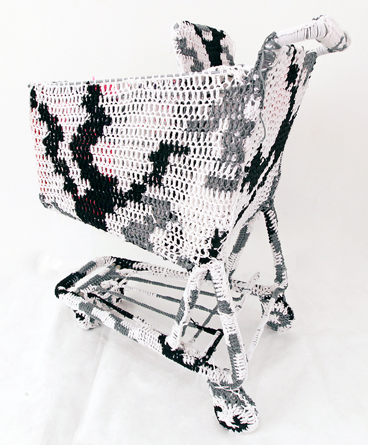 Olek  &nbsp -  <strong>Crocheted Shopping Cart (1)</strong> (2011<strong style = 'color:#635a27'></strong>)<bR /> mixed media,   38 x 31 x 18.25 inches  (96.5 x 78.75 x 46.35 cm)