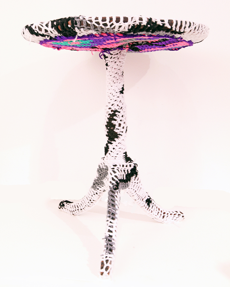 Olek  &nbsp -  <strong>Crocheted Side Table</strong> (2011<strong style = 'color:#635a27'></strong>)<bR /> mixed media,   28.5 x 24 x 24 inches  (72.39 x 60.96 x 60.96 cm)
