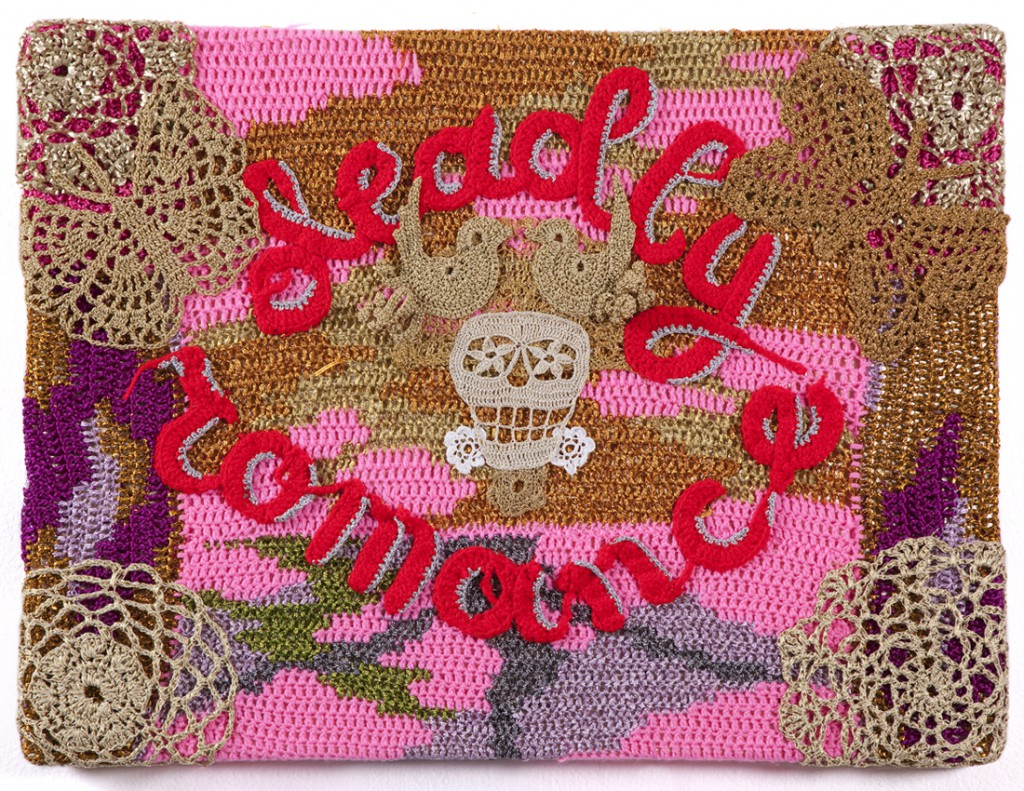 Olek  &nbsp -  <strong>Deadly Romance</strong> (2013<strong style = 'color:#635a27'></strong>)<bR /> crocheted acrylic yarn and metallic ribbon on canvas,   24.25 x 32.625 x 2 inches  (61.6 x 82.87 x 5 cm)