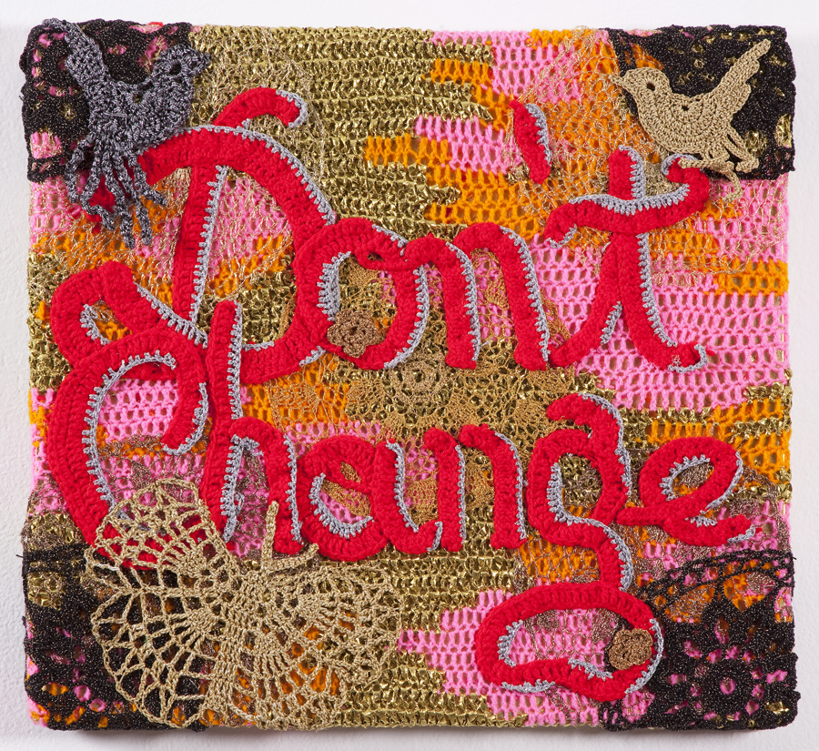 Olek  &nbsp -  <strong>Don't Change</strong> (2013<strong style = 'color:#635a27'></strong>)<bR /> crocheted acrylic yarn and metallic ribbon on canvas,   22.5 x 24.5 x 2.5 inches  (57.15 x 62.23 x 6.35 cm)
