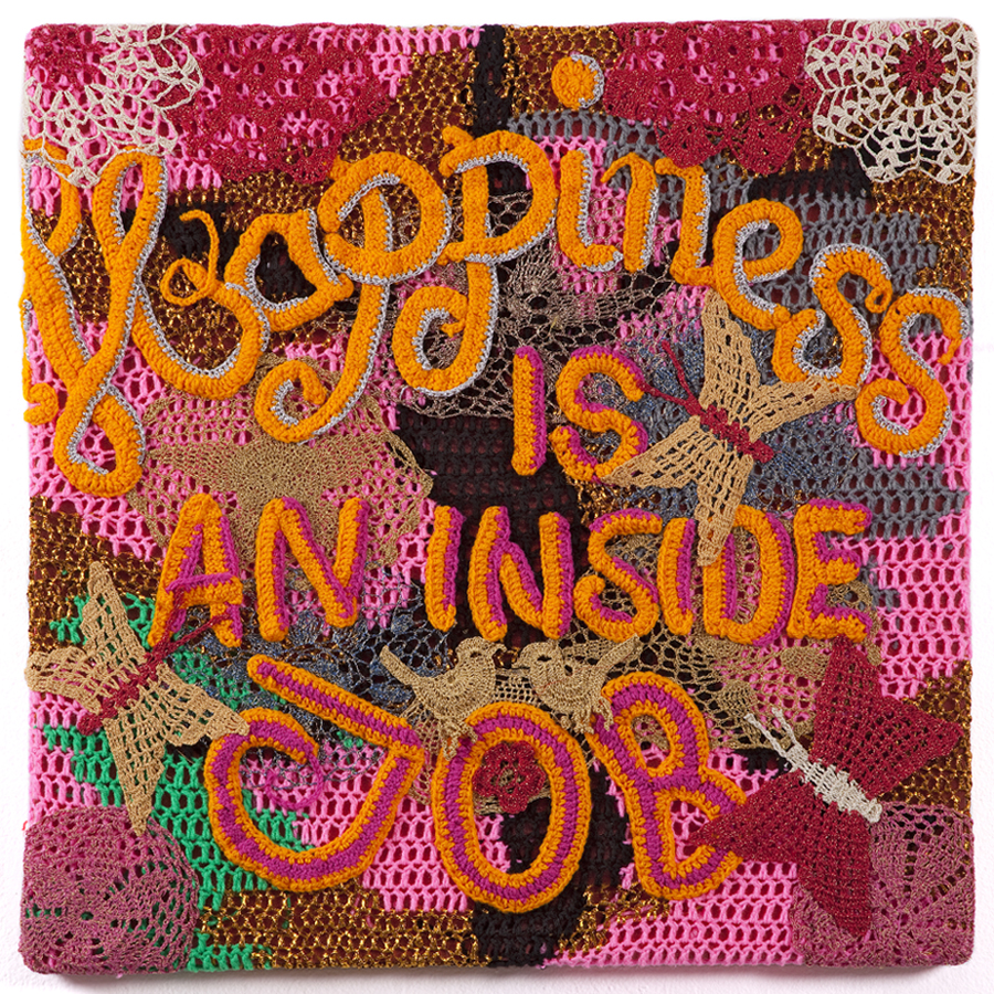 Olek  &nbsp -  <strong>Happiness is an Inside Job</strong> (2012<strong style = 'color:#635a27'></strong>)<bR /> crocheted acrylic yarn and metallic ribbon on canvas,   32.25 x 32.25 x 1.75 inches  (81.91 x 81.91 x 4.44 cm)