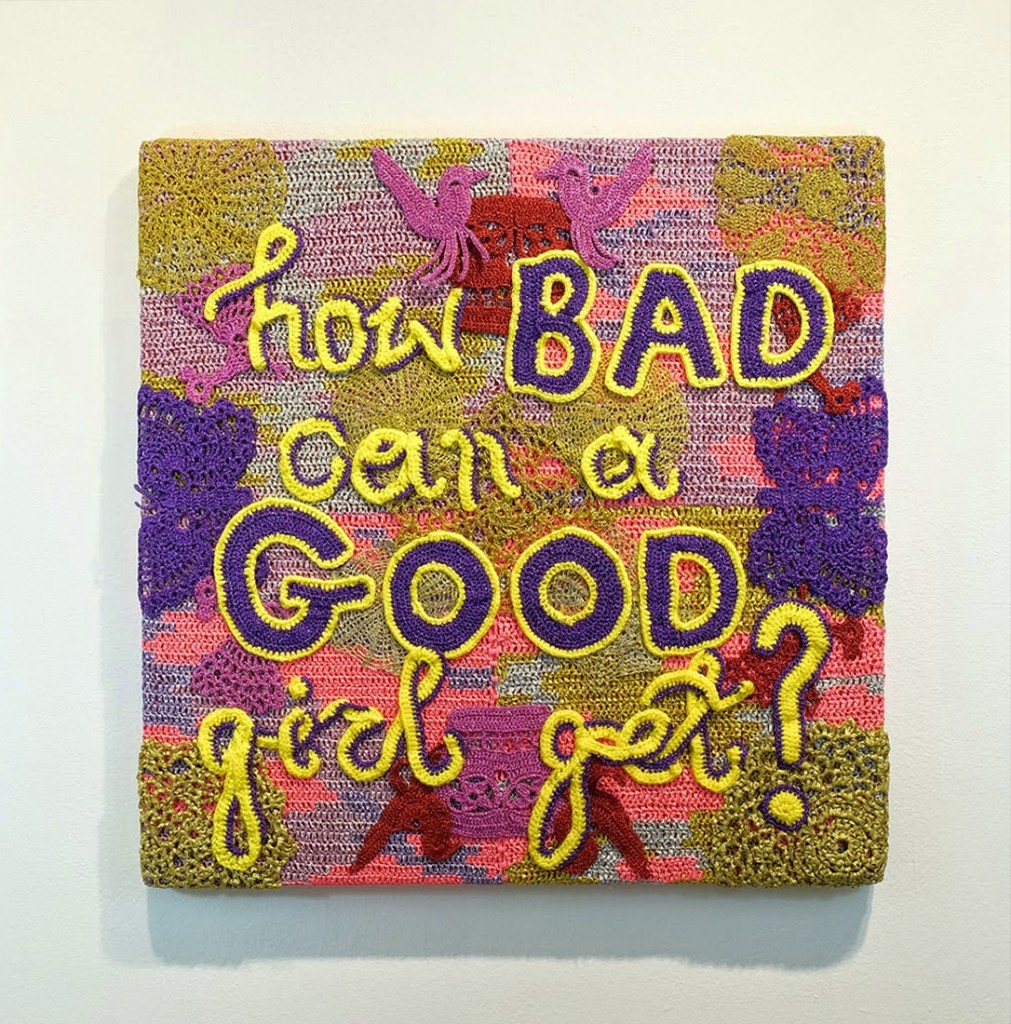 Olek  &nbsp -  <strong>Bad, Good, Girl</strong> (2014<strong style = 'color:#635a27'></strong>)<bR /> crocheted acrylic yarn and metallic ribbon on canvas,   30 x 30 inches  (76.20 x 76.20 cm)