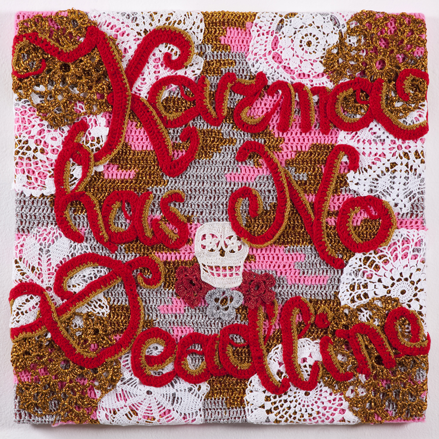 Olek  &nbsp -  <strong>Karma Has No Deadline</strong> (2013<strong style = 'color:#635a27'></strong>)<bR /> crocheted acrylic yarn and metallic ribbon on canvas,   26 x 26 x 1.625 inches  (66 x 66 x 4.125 cm)