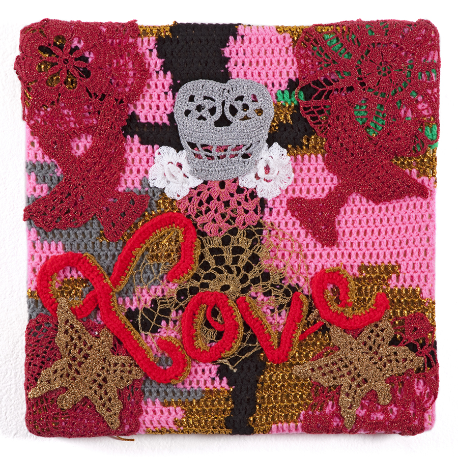 Olek  &nbsp -  <strong>Love</strong> (2013<strong style = 'color:#635a27'></strong>)<bR /> crocheted acrylic yarn and metallic ribbon on canvas,   18.5 x 18.5 x 1.75 inches  (47 x 47 x 4.44 cm)