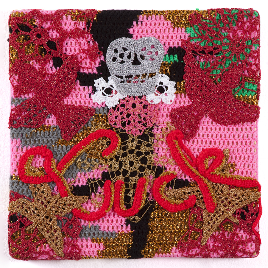 Olek  &nbsp -  <strong>Luck</strong> (2013<strong style = 'color:#635a27'></strong>)<bR /> crocheted acrylic yarn and metallic ribbon on canvas,   18.5 x 18.5 x 1.75 inches  (47 x 47 x 4.44 cm)