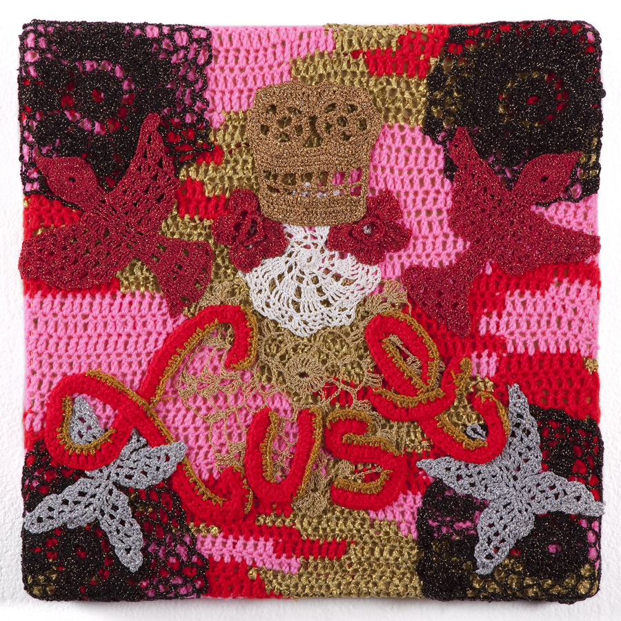Olek  &nbsp -  <strong>Lust</strong> (2013<strong style = 'color:#635a27'></strong>)<bR /> crocheted acrylic yarn and metallic ribbon on canvas,   18.5 x 18.5 x 1.75 inches  (47 x 47 x 4.44 cm)
