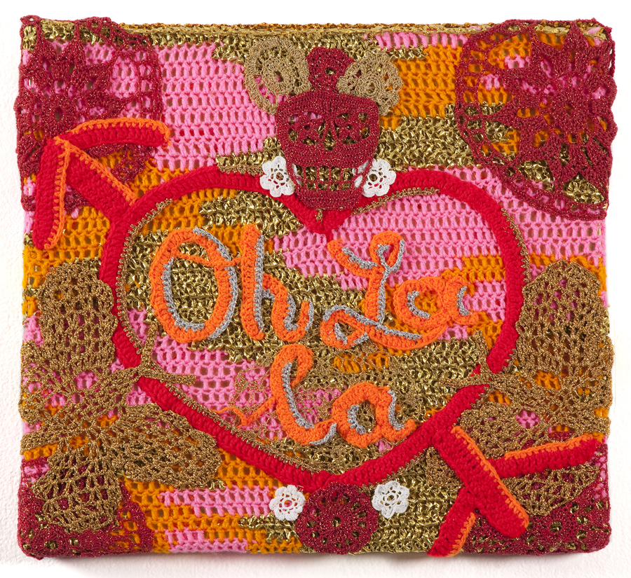 Olek  &nbsp -  <strong>Oh La La</strong> (2013<strong style = 'color:#635a27'></strong>)<bR /> crocheted acrylic yarn and metallic ribbon on canvas,   20.25 x 22.25 x 1.75 inches  (51.43 x 56.5 x 44.45 cm)