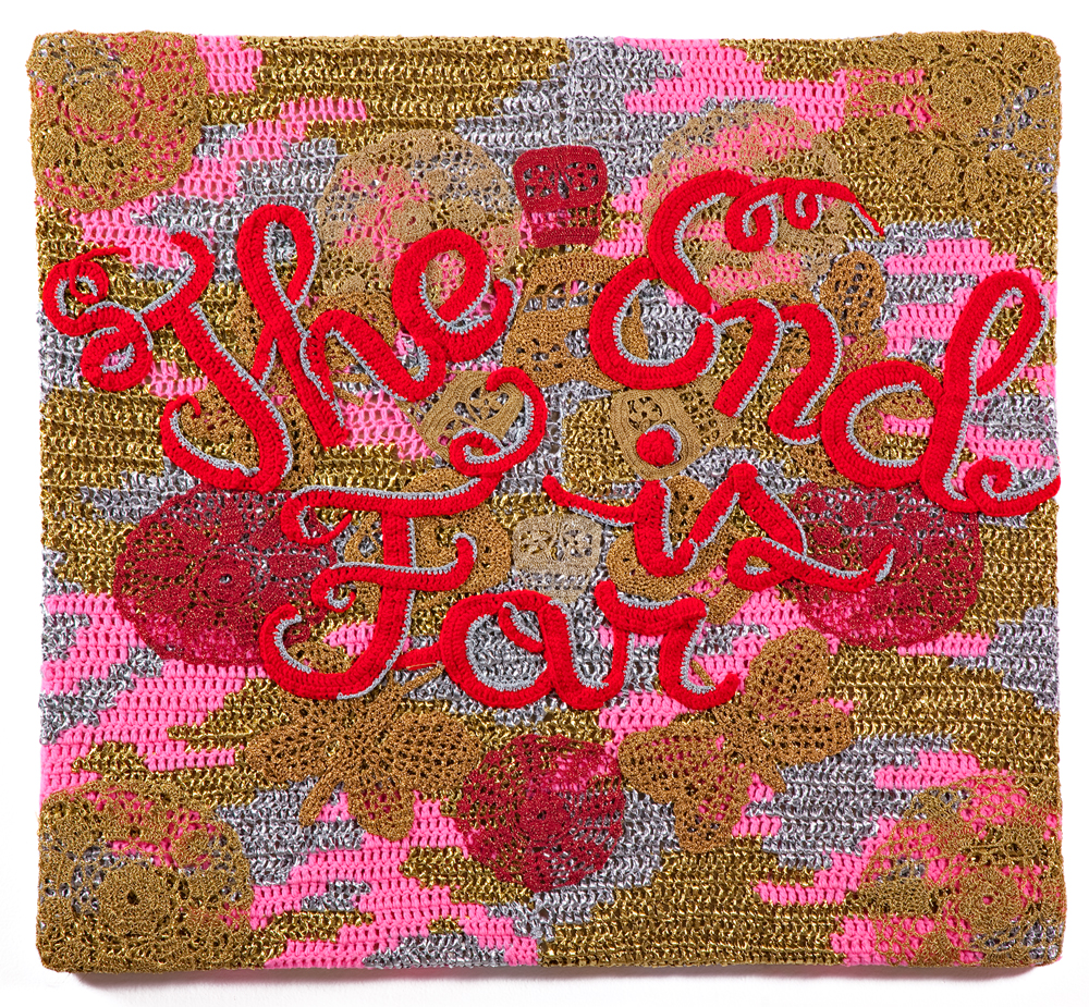 Olek  &nbsp -  <strong>The End is Far</strong> (2013<strong style = 'color:#635a27'></strong>)<bR /> crocheted acrylic yarn and metallic ribbon on canvas,   44 x 40.5 inches  (111.76 x 102.87 cm)