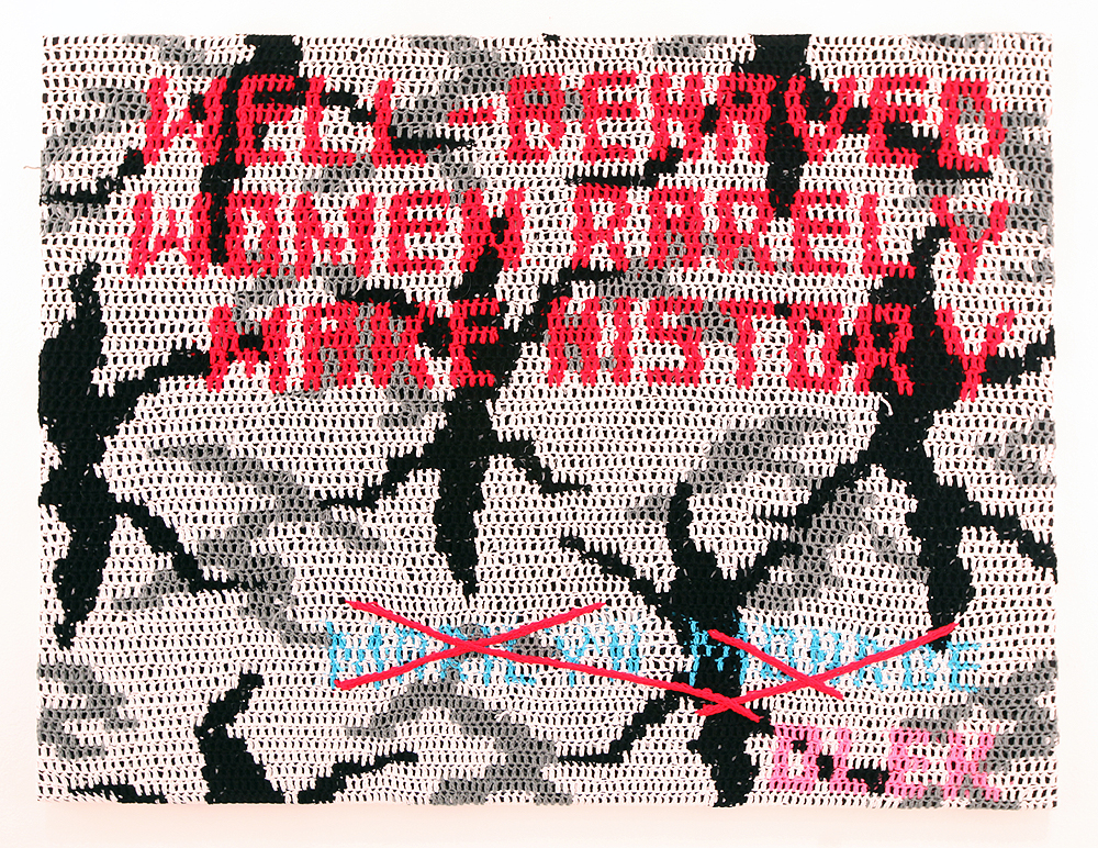 Olek  &nbsp -  <strong>Well Behaved Women (Monroe quote)</strong> (2011<strong style = 'color:#635a27'></strong>)<bR /> crocheted acrylic yarn on canvas,   44.25 x 58.5 x 2.75 inches  (112.4 x 148.59 x 6.99 cm)