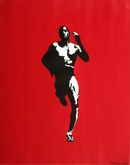 Blek le Rat  &nbsp -  <strong>On the Run</strong> (2008<strong style = 'color:#635a27'></strong>)<bR /> Spraypaint on Canvas,   Edition of 1,   36 x 29 inches