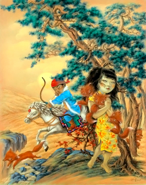 """Xiaoqing  Ding -  <strong>Once Upon a Time</strong> (2007<strong style = 'color:#635a27'></strong>)<bR /> Pastel on Paper,   <span style=""""font-family: Helvetica;"""">Image size: 40 x 32 inches,   </span>,  <p class=""""MsoNormal""""><span style=""""font-family: Helvetica;"""">Framed size: 41 x 33 inches</span>,   <span style=""""font-family: Helvetica;"""">,   </span>,    ,    ,  <p />"""