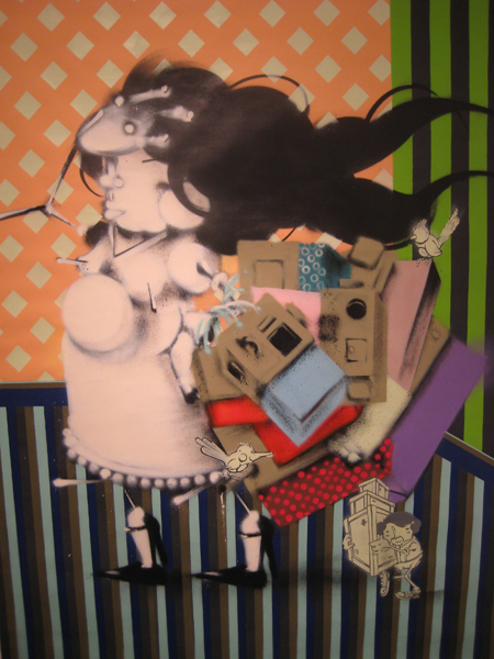 Alex  Hornest -  <strong>Felicidade instantânea/   Instant happiness</strong> (<strong style = 'color:#635a27'></strong>)<bR /> duco and acrylic on canvas,   72 7/8 x 55 1/8 inches [185 x 140 cm]