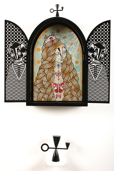 Stephan  Doitschinoff -  <strong>Oratorio</strong> (2008<strong style = 'color:#635a27'></strong>)<bR /> Acrylic on Panel inside Laser Cut and Painted Case with Hand Carved Wooden Objects,   Inner Painting: 22 x 14 inches,   Outer Case: 28 x 17 inches (tip of ornament to bottom)