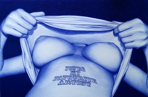 Juan Francisco  Casas -  <strong>YOU'RE MY FAVORITE ARTIST #1</strong> (2013<strong style = 'color:#635a27'></strong>)<bR /> blue Bic ballpen on paper,   10 x 16 inches  (26.5 x 40 cm)  15.5 x 20.75 inches, framed