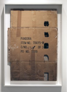 EVOL    -  <strong>Pandora's Box</strong> (2015<strong style = 'color:#635a27'></strong>)<bR /> spray paint on cardboard,   35 x 24.41 inches  (89 x 62 cm)  38.98 x 27.56 inches, framed