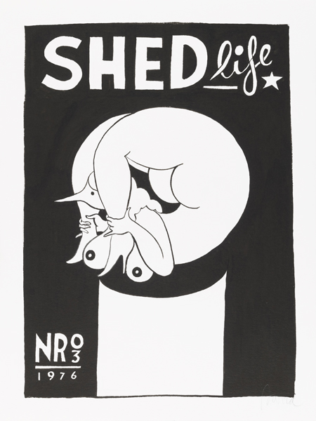 Parra  &nbsp -  <strong>Shed Life</strong> (2012<strong style = 'color:#635a27'></strong>)<bR /> ink on paper,   15.75 x 11.75 inches  (40 x 30 cm)  19.375 x 15.375 x 1.25 inches, framed