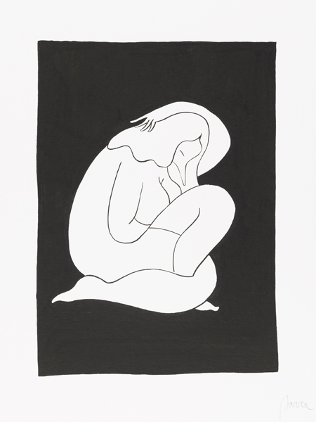 Parra    -  <strong>Sleeping</strong> (2012<strong style = 'color:#635a27'></strong>)<bR /> ink on paper,   15.75 x 11.75 inches  (40 x 30 cm)  19.375 x 15.375 x 1.25 inches, framed