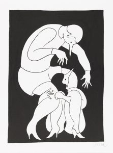 Parra    -  <strong>Spell Bound</strong> (2012<strong style = 'color:#635a27'></strong>)<bR /> ink on paper,   15.75 x 11.75 inches  (40 x 30 cm)  19.375 x 15.375 x 1.25 inches, framed