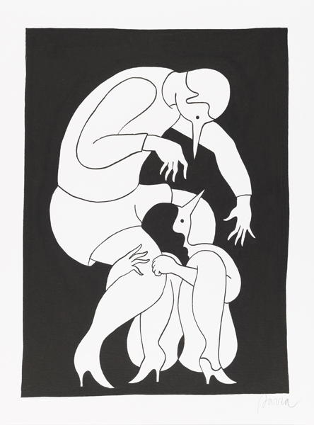 Parra  &nbsp -  <strong>Spell Bound</strong> (2012<strong style = 'color:#635a27'></strong>)<bR /> ink on paper,   15.75 x 11.75 inches  (40 x 30 cm)  19.375 x 15.375 x 1.25 inches, framed