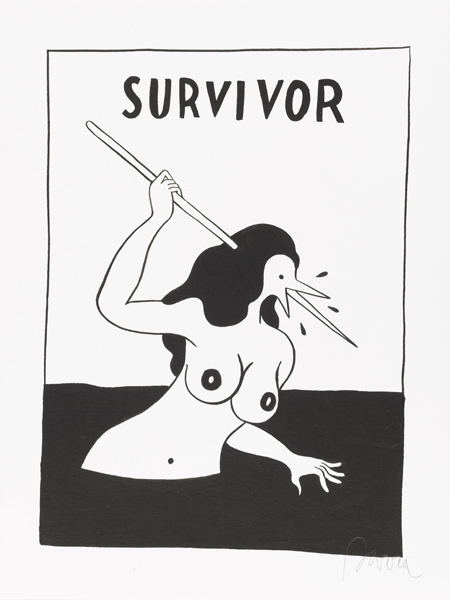 Parra    -  <strong>Survivor</strong> (2012<strong style = 'color:#635a27'></strong>)<bR /> ink on paper,   15.75 x 11.75 inches  (40 x 30 cm)  19.375 x 15.375 x 1.25 inches, framed